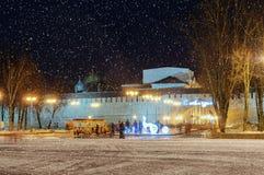 De winteravond in Novgorod het Kremlin Stock Afbeelding