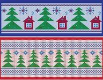 De winterbanner, patroonborstel Stock Afbeeldingen