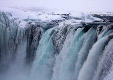 De winterbeeld van Godafoss-Waterval in IJsland Royalty-vrije Stock Afbeelding