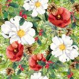 De winterbloemen, de takken van de pijnboomboom, kegels, maretak De naadloze achtergrond van Kerstmis watercolor Royalty-vrije Stock Foto's