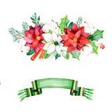 De winterboeketten met bladeren, takken, katoenen bloemen, bessen vector illustratie