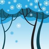 De winterbomen met sneeuwvlokken Stock Fotografie