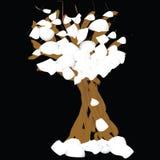 De winterboom met sneeuw Vector Illustratie