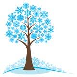 De winterboom met sneeuwvlokken Royalty-vrije Stock Foto's