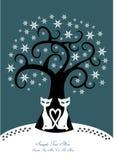 De winterboom met twee katten en sneeuwvlokken stock illustratie
