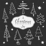 De winterboom van het krijtoverzicht De inzameling van Kerstmis Royalty-vrije Stock Fotografie