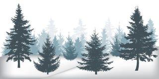 De winterbos, silhouetten van mooie nette bomen stock illustratie