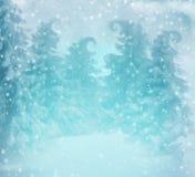 De winterbos in de sneeuw in een blauwe kleur met magische bomen en dalende vlokken van sneeuw stock illustratie