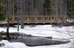De winterbrug met sneeuw en water royalty-vrije stock afbeeldingen