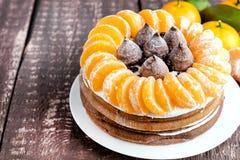 De wintercake met Mandarin Stock Foto's