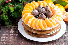 De wintercake met Mandarin Stock Afbeeldingen