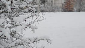 De wintercityscape in Moskou Rusland stock footage