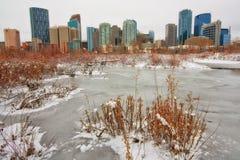 De Wintercityscape van Calgary Royalty-vrije Stock Fotografie