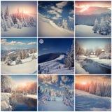 De wintercollage met 9 vierkante Kerstmislandschappen Stock Fotografie