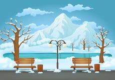 De winterdag in het park, twee banken, blikken en straatlantaarn Bevroren meer en bergen op de achtergrond stock illustratie