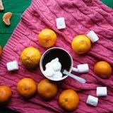 De winterdecoratie Samenstelling op houten achtergrond Hete thee, kaarsen, besnoeiingsgrapefruit Kerstmis De stemming van Kerstmi Royalty-vrije Stock Foto's