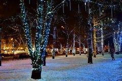 De winterdecoratie van Moskou, Rusland Stock Afbeeldingen