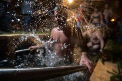 De winterdoopsel in het meer Royalty-vrije Stock Foto's