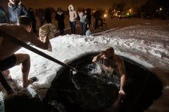 De winterdoopsel in het meer Stock Fotografie