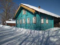 De winterdorp Rusland stock fotografie