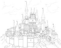 De winterdroom van kinderen, kasteel, spar, Vakantieachtergrond Stock Foto's
