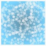 De winterdruk met witte sneeuwvlokken Stock Fotografie