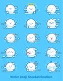 De winteremoji Sneeuwbal Emoticon Vliegende sneeuwballen met sneeuwvlokken emoties stock illustratie