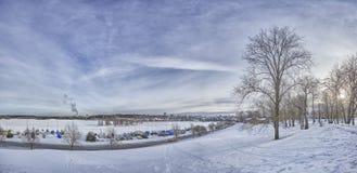 De winterhemel van Lappeenranta, Finland stock foto