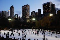 De winterijs die, Central Park schaatsen stock afbeeldingen