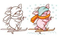De winterillustratie met leuk beeldverhaalvarken vector illustratie