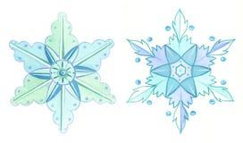 De winterillustratie van de sneeuwvlokkenwaterverf Stock Foto