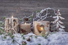 De winterkaarsen Stock Foto's