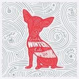 De winterkaart Het Van letters voorzien - Mooie de Winter Leuke Indrukken Nieuwjaar van het Hond/Kerstmisontwerp Royalty-vrije Stock Afbeeldingen