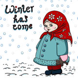 De winterkaart met meisje op de witte achtergrond Royalty-vrije Stock Foto