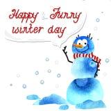 De winterkaart met sneeuwman op de witte achtergrond Royalty-vrije Stock Afbeeldingen