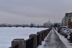 De winterkade van heilige Petersburg van Neva-brug Stock Fotografie