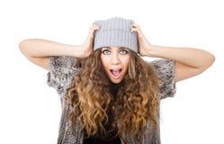 De winterkleding voor een gek meisje Royalty-vrije Stock Foto's
