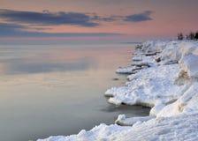 De winterkleuren van Meer Michigan stock foto's