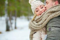 De winterkus stock foto's