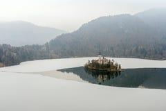 De winterlandschap Afgetapt Meer Royalty-vrije Stock Afbeelding