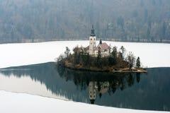 De winterlandschap Afgetapt Meer Stock Fotografie
