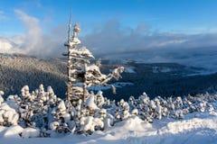 De winterlandschap in bergen Stock Foto