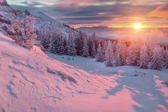 De winterlandschap in bergen bij zonsopgang Royalty-vrije Stock Afbeeldingen