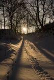 De winterlandschap bij avond Stock Afbeelding