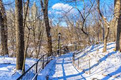De winterlandschap in Central Park van de Stad van New York met ijs en sneeuw, de V.S. royalty-vrije stock fotografie