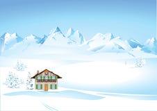 De winterlandschap in de bergen stock illustratie