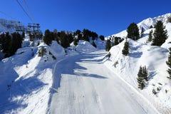 De winterlandschap in de skitoevlucht van La Plagne, Frankrijk Stock Foto's