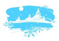 De winterlandschap, die borstel trekken Stock Illustratie