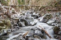 De winterlandschap die een lopende kreek van water kenmerken Royalty-vrije Stock Afbeelding