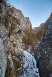 De winterlandschap in een canion Royalty-vrije Stock Afbeeldingen